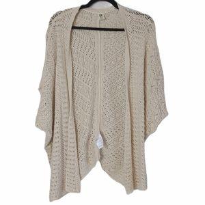 ROXY Open Knit Short Sleeve Cardigan L